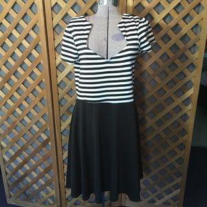 Black & White Striped Steady Clothing Dress 1X